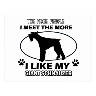 Funny giant schnauzer designs postcard