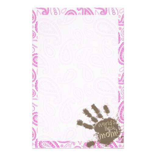Funny Gift for Mom; Pink Paisley Personalized Stationery