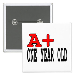 Funny Gifts for 1 Year Olds A+ One Year Old Pinback Buttons