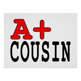 Funny Gifts for Cousins A+ Cousin Poster