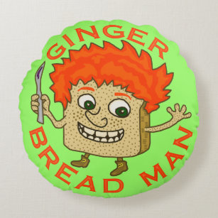Funny Ginger Bread Man Christmas Pun Round Pillow