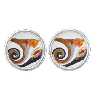 Funny Ginger Cat Goldfish abstract musical art Cufflinks
