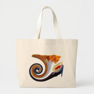 Funny Ginger Cat Goldfish abstract musical art Large Tote Bag