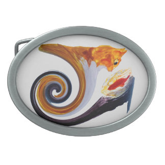 Funny Ginger Cat Goldfish abstract musical art Oval Belt Buckle