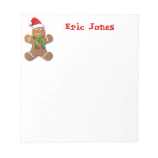 Funny Gingerbread Man with Santa Hat Notepad