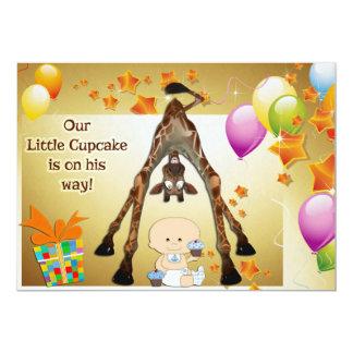 "Funny Giraffe, Baby Boy and Cupcakes Baby Shower 5"" X 7"" Invitation Card"