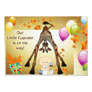 Funny Giraffe, Baby Boy and Cupcakes Baby Shower Card