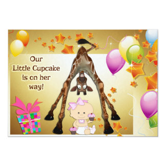 """Funny Giraffe, Baby Girl and Cupcakes Baby Shower 5"""" X 7"""" Invitation Card"""