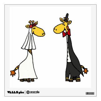 Funny Giraffe Bride and Groom Wedding Art Wall Sticker