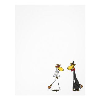 Funny Giraffe Bride and Groom Wedding Cartoon Letterhead Template