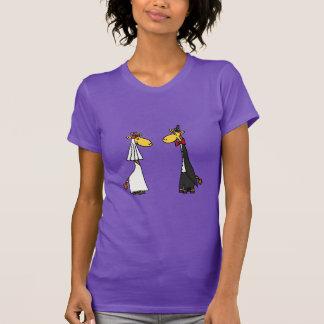 Funny Giraffe Bride and Groom Wedding Cartoon Tshirts