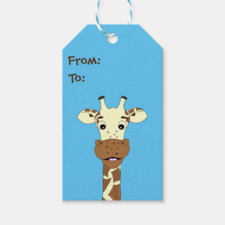 Funny giraffe cartoon blue kids pack of gift tags