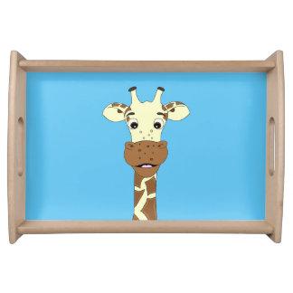 Funny giraffe cartoon blue kids serving tray