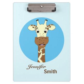 Funny giraffe cartoon blue name kids clipboard
