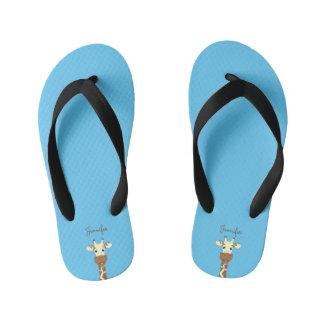 Funny giraffe cartoon blue name kids slippers kid's flip flops