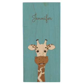 Funny giraffe cartoon blue name kids wood USB 2.0 flash drive