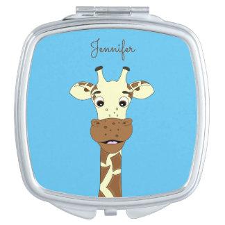 Funny giraffe cartoon blue name mirror vanity mirrors