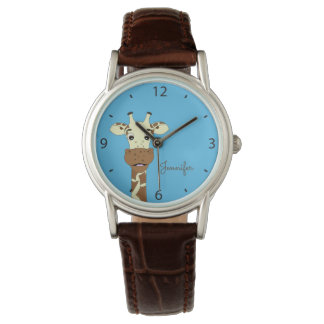 Funny giraffe cartoon blue name woman's watch