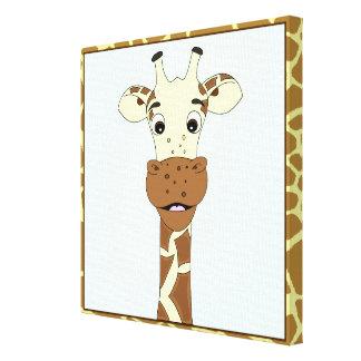 Funny giraffe cartoon kids canvas print