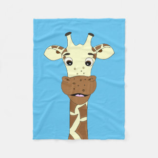 Funny giraffe cartoon kids fleece blanket