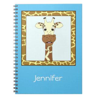 Funny giraffe cartoon kids notebook