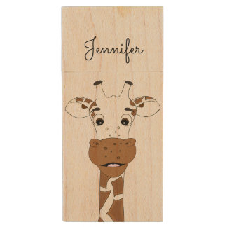 Funny giraffe cartoon kids wood USB 2.0 flash drive