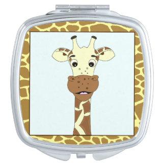 Funny giraffe cartoon makeup mirror
