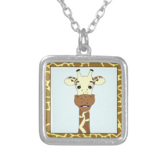 Funny giraffe cartoon silver plated necklace