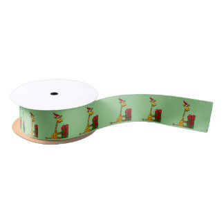 Funny Giraffe Christmas Ribbon Satin Ribbon