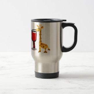 Funny Giraffe drinking Red wine Cartoon Travel Mug