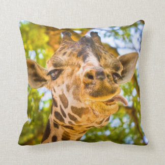 Funny Giraffe Face Throw Pillow