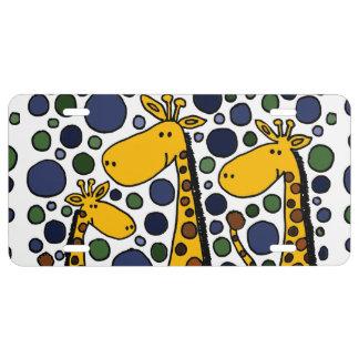 Funny Giraffe Family Art License Plate