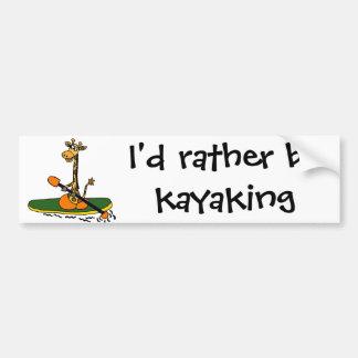 Funny Giraffe in Kayak Bumper Sticker