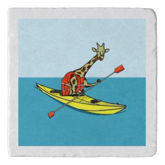 Funny giraffe kayaking trivet