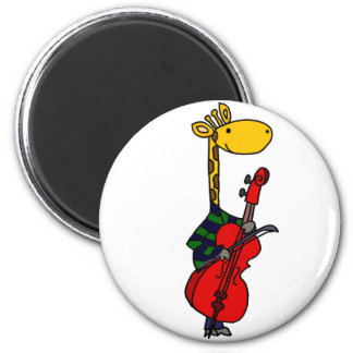 Funny Giraffe Playing Cello Art Magnet