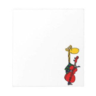 Funny Giraffe Playing Cello Art Notepad