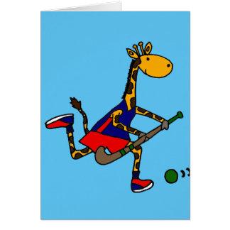 Funny Giraffe Playing Field Hockey Card