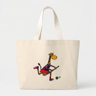 Funny Giraffe Playing Field Hockey Large Tote Bag