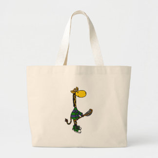 Funny Giraffe Playing Lacrosse Large Tote Bag