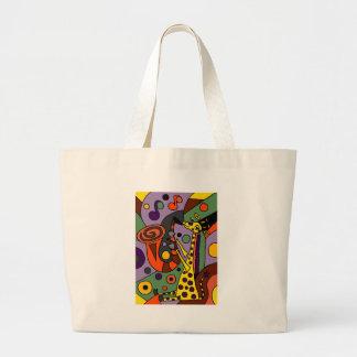Funny Giraffe Playing Saxophone Original Art Large Tote Bag