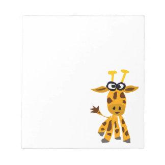 Funny Giraffe Primitive Art Notepad