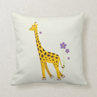 Funny Giraffe Roller Skating Children's Throw Pillow