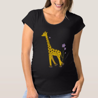 Funny Giraffe Roller Skating Dark Maternity T-Shirt