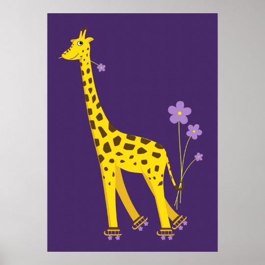 Funny Giraffe Roller Skating Kids Poster