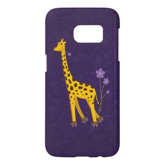 Funny Giraffe Roller Skating Violet Samsung Galaxy S7 Case