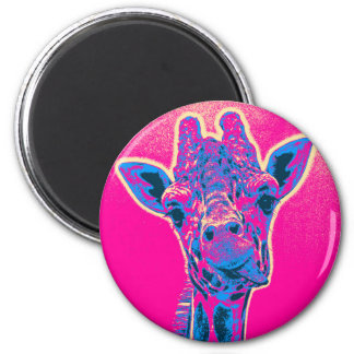 Funny Giraffe Sticking out his Tongue 2 Inch Round Magnet