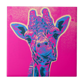 Funny Giraffe Sticking out his Tongue Ceramic Tiles