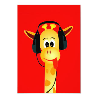"Funny giraffe with headphone colorful comic style 5"" x 7"" invitation card"