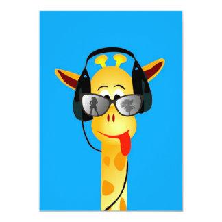 "funny giraffe with headphones summer glasses comic 5"" x 7"" invitation card"