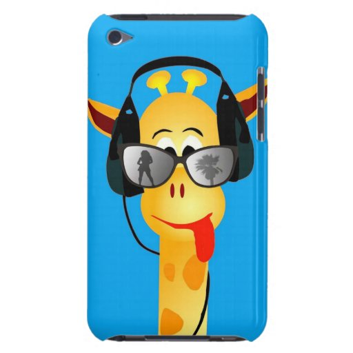 funny giraffe with headphones summer glasses comic iPod touch covers